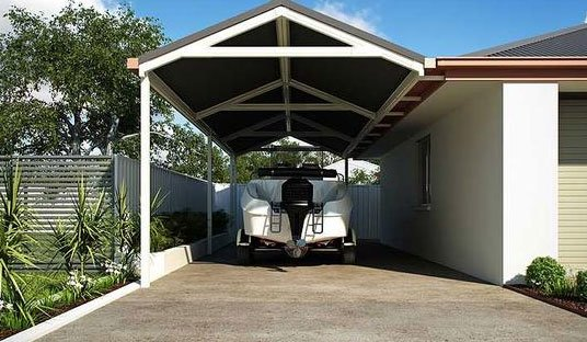 Gabled carport used for boat