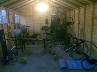 home gym in the shed